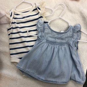 Baby Gap Top and Onesie 0-3